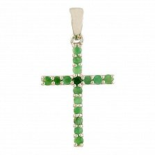 Крестик из серебра Настасья с изумрудами