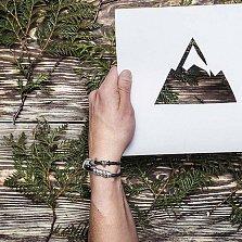Кожаный браслет со словом Family из серебра азбукой Морзе