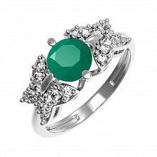 Серебряное кольцо Алиса с зеленым агатом и фианитами