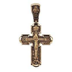 Двусторонний золотой крест Символ Веры с чернением 000068432