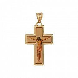 Крестик из красного золота Сын Божий с эмалью  000081383