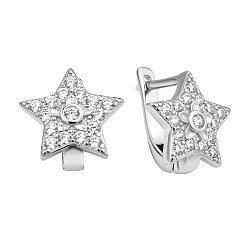 Серебряные серьги-звезды с фианитами 000106870