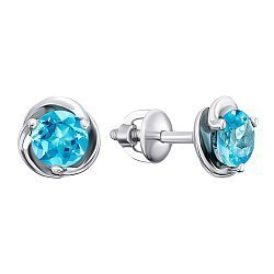 Серебряные серьги-пуссеты с темно-голубыми топазами Swiss blue 000126373