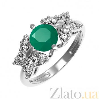 Серебряное кольцо Алиса с зеленым агатом и фианитами 000079701