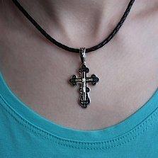 Серебряный родированный крест Высшая сила с чёрной эмалью