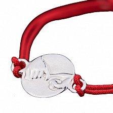 Шелковый браслет Pinkie promise с серебряной вставкой