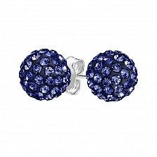 Серебряные пуссеты-шары Блеск с кристаллами Swarovski цвета танзанита