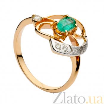 Золотое кольцо с изумрудом и бриллиантами Элфера 000030301