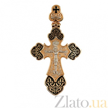 Золотой крестик Архангел с белым родием и черной эмалью VLT--КС3036-Э-2