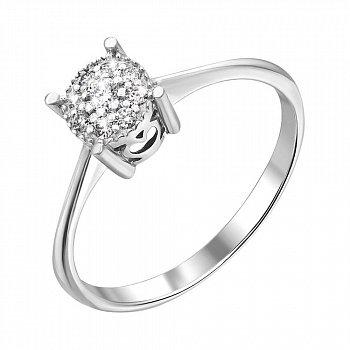 Каблучка з білого золота з діамантами 000135792