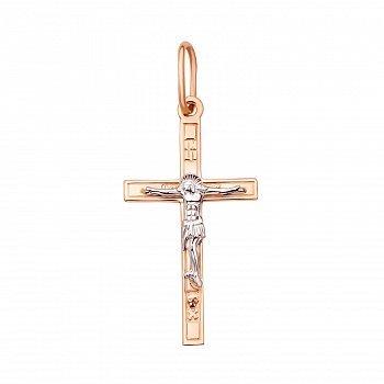 Золотой крестик Спаситель в комбинированном цвете 000055226