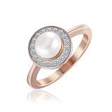 Серебряное кольцо Карина с позолотой, жемчугом и фианитами