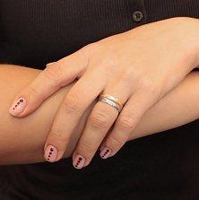 Двойное обручальное кольцо из красного и белого золота Драгоценная пара с гладкой поверхностью