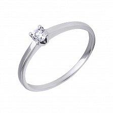 Золотое кольцо с бриллиантом в белом цвете Ноэмия