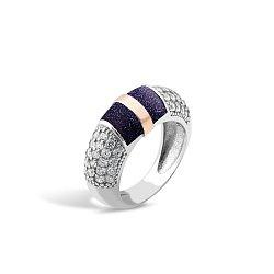 Серебряное родированное кольцо Эмма с золотой накладкой, авантюрином и фианитами