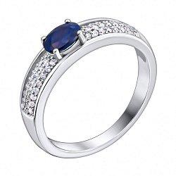 Серебряное кольцо Арагона с сапфиром и фианитами