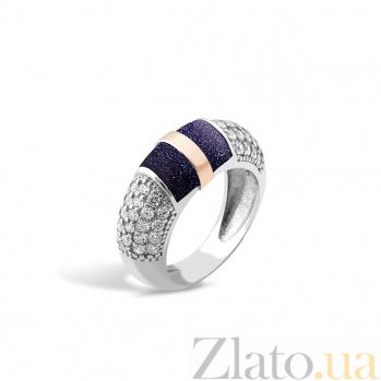 Серебряное родированное кольцо Эмма с золотой накладкой, авантюрином и фианитами 000123858