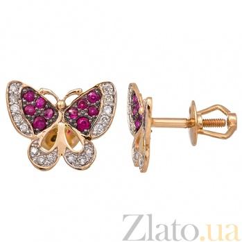 Золотые серьги с рубинами и бриллиантами Мишель KBL--С2409/крас/руб