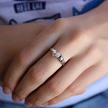 Золотое кольцо Отражение в белом цвете с бриллиантом