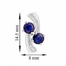 Серебряные серьги Кометы с сапфирами и фианитами