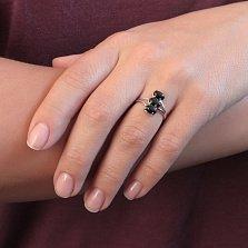 Серебряное кольцо Три кабошона с черным ониксом