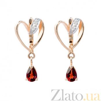 Золотые серьги с бриллиантами и гранатами Вероника ZMX--EGn-6175_K