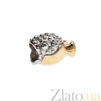 Бусина серебро с позолотой Рыба AQA--131510128/5