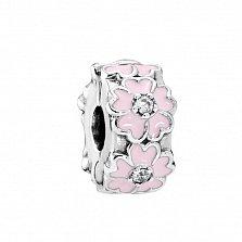 Серебряный шарм-клипса Веночек с фианитами и нежно-розовой эмалью в стиле Пандора