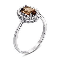 Серебряное кольцо с раухтопазом и фианитами 000137235