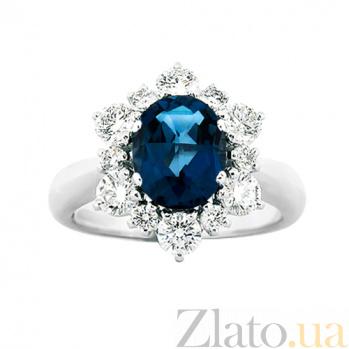 Золотое кольцо с сапфиром и бриллиантами Страстный голос 000029667