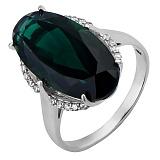 Серебряное кольцо с зеленым кварцем Олимпия