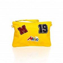 Кожаный клатч Genuine Leather 8064 ярко-желтого цвета с нашивками и короткой ручкой для запястья