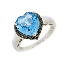 Кольцо в белом золоте с топазом и чёрными бриллиантами Сердце