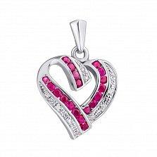 Серебряная подвеска с рубинами и бриллиантами Большое сердце