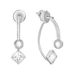 Срібні сережки з цирконієм 000039770