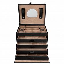 Кожаная шкатулка для украшений Fiore с выдвижными ящиками под ключ