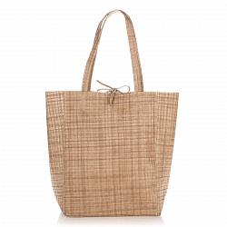 Кожаная сумка на каждый день Genuine Leather 8040 цвета теплый тауп с завязками