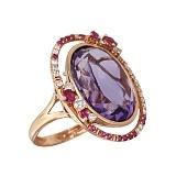 Золотое кольцо с аметистом, розовыми сапфирами и бриллиантами Искушение
