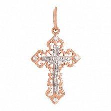 Крестик из золота с фианитами Православие