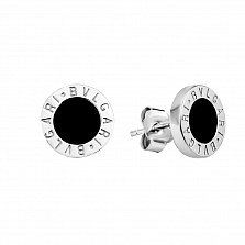 Серебряные серьги-пуссеты Генуя с черным ониксом в стиле Булгари