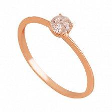 Золотое кольцо с фианитом Горячее сердце