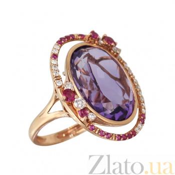 Золотое кольцо с аметистом, розовыми сапфирами и бриллиантами Искушение 000027288