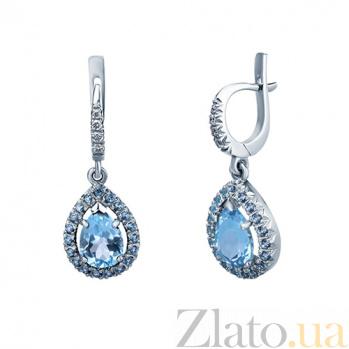 Серьги Freda с топазами и бриллиантами   AQA--с016бT
