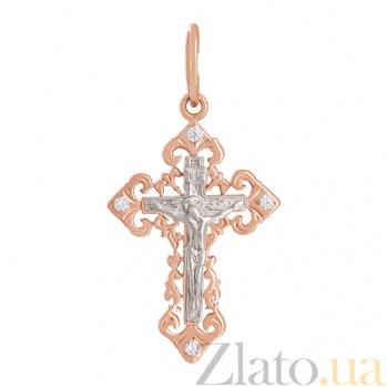 Крестик из золота с фианитами Православие VLN--214-1181