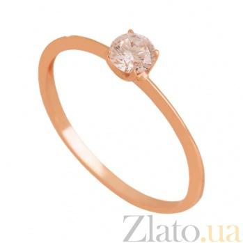 Золотое кольцо с фианитом Горячее сердце 000024344