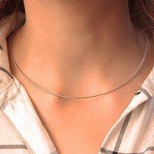 Серебряная цепочка Николь в жестком плетении снейк с частой насечкой, 1мм