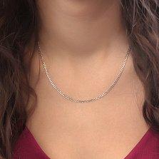 Серебряная родированная цепочка Даллас в панцирном плетении с алмазной гранью, 2,5мм