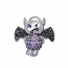 Серебряный кулон Влюбленный чертик с фиолетовыми и черными фианитами