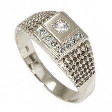 Кольцо из белого золота Фрейя с голубыми и белым бериллами