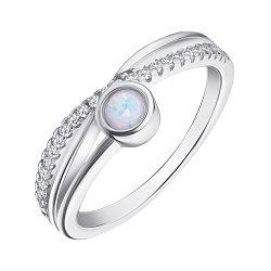 Серебряное кольцо с опалом и фианитами 000139592